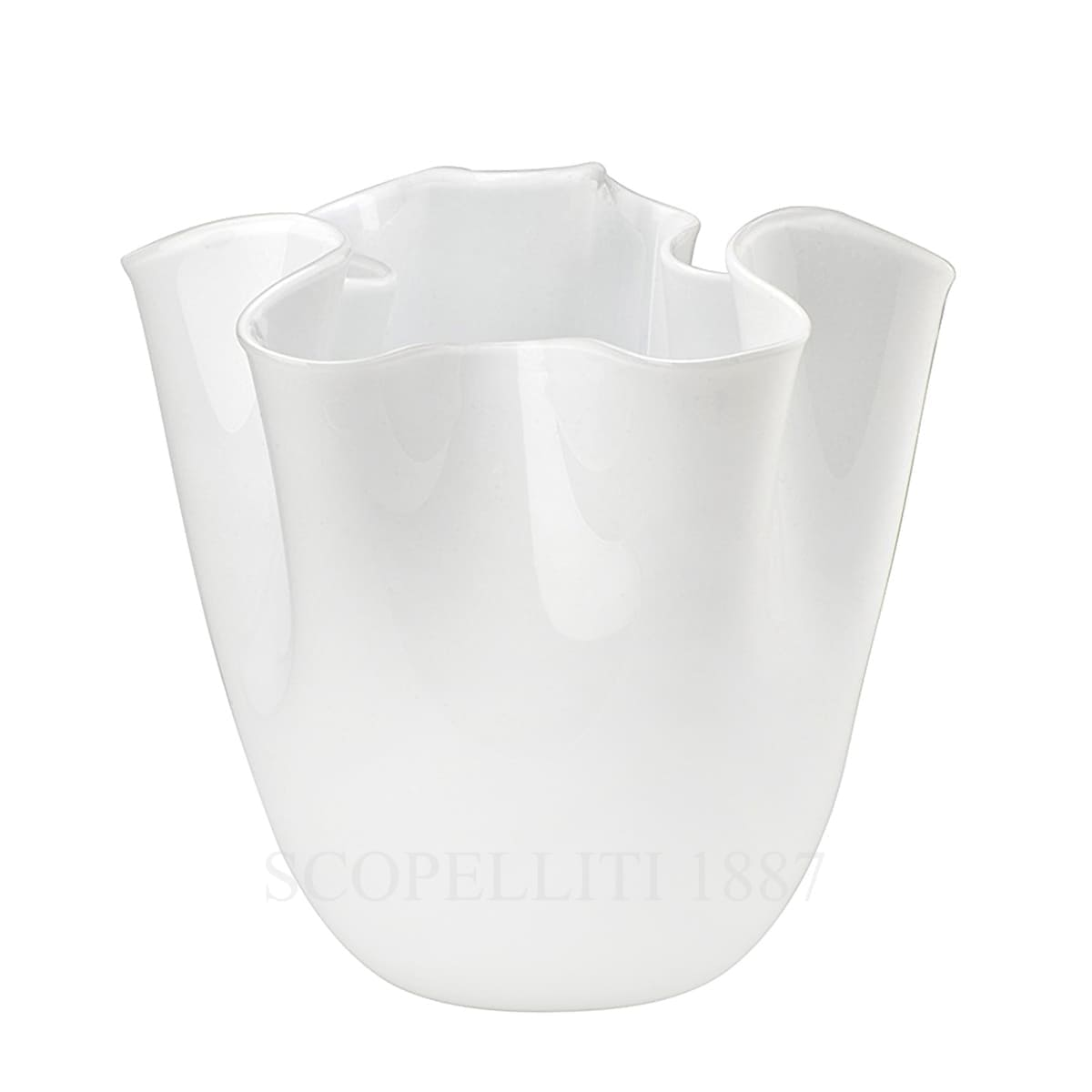 fazzoletto venini murano glass white vase