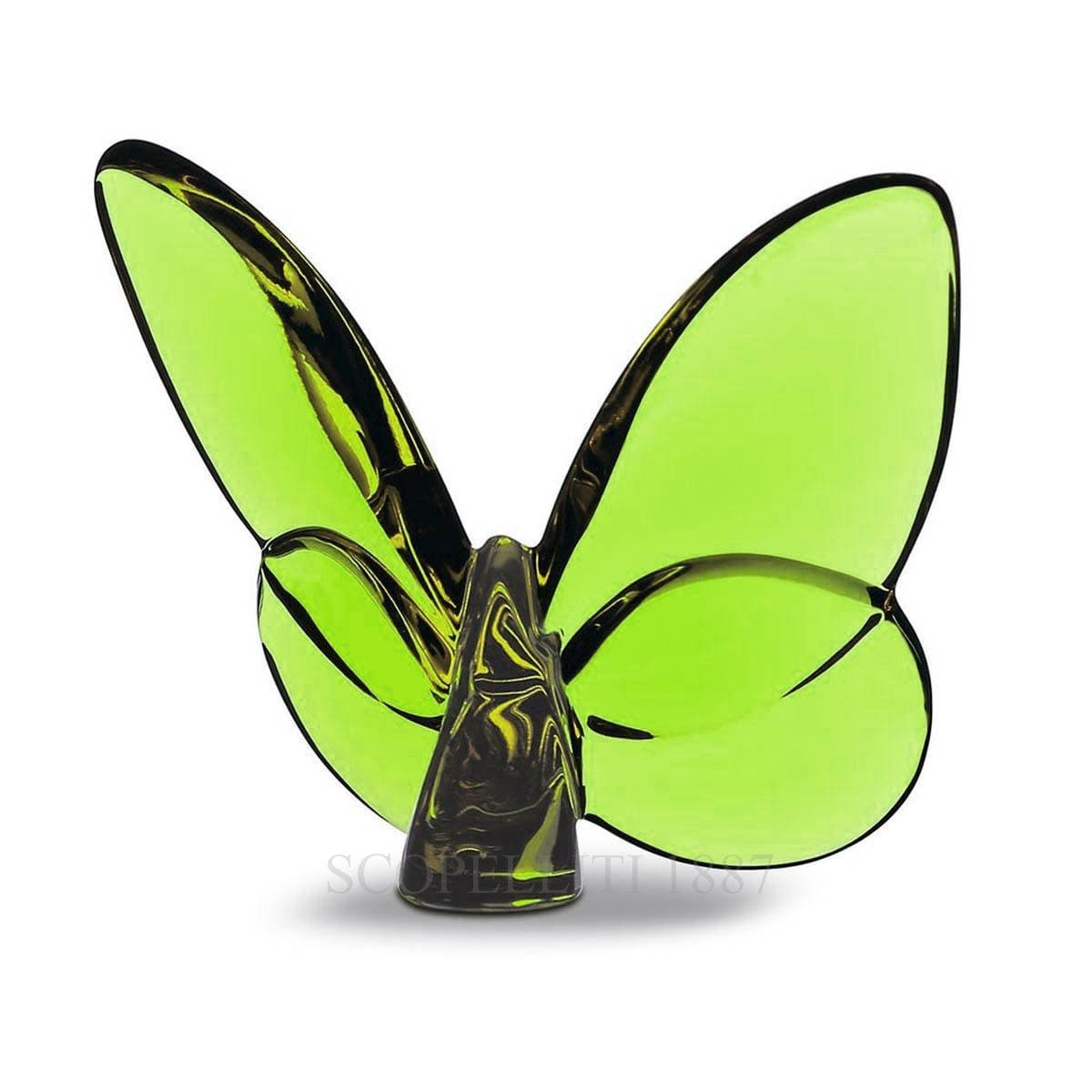 baccarat crystal french design green porte bonheur butterfly