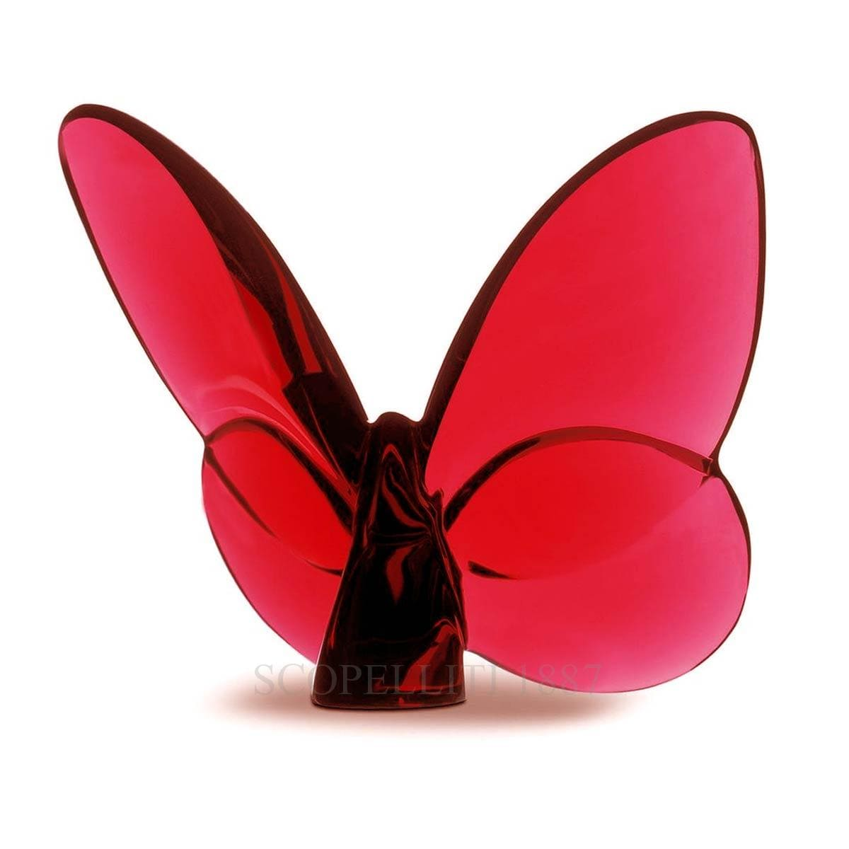 baccarat french design red porte bonheur butterfly