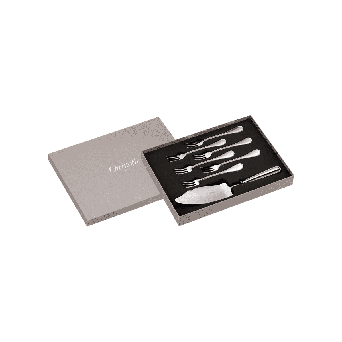 christofle silver plated albi gift box cake server and 6 forks