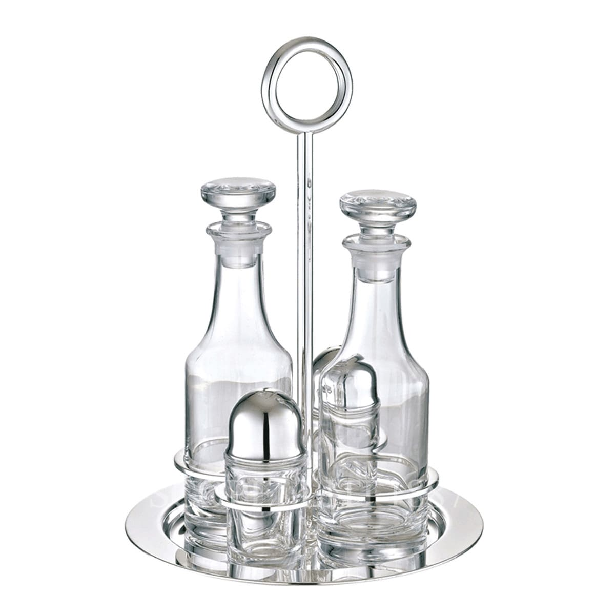 Christofle Vertigo Silver Plated Oil and Vinegar Cruet Set with Stand