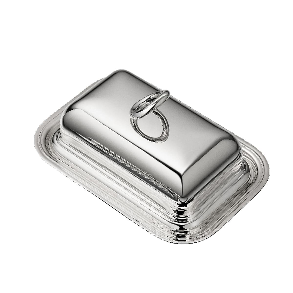 Christofle Vertigo Silver Plated Rectangular Butter Dish with Lid