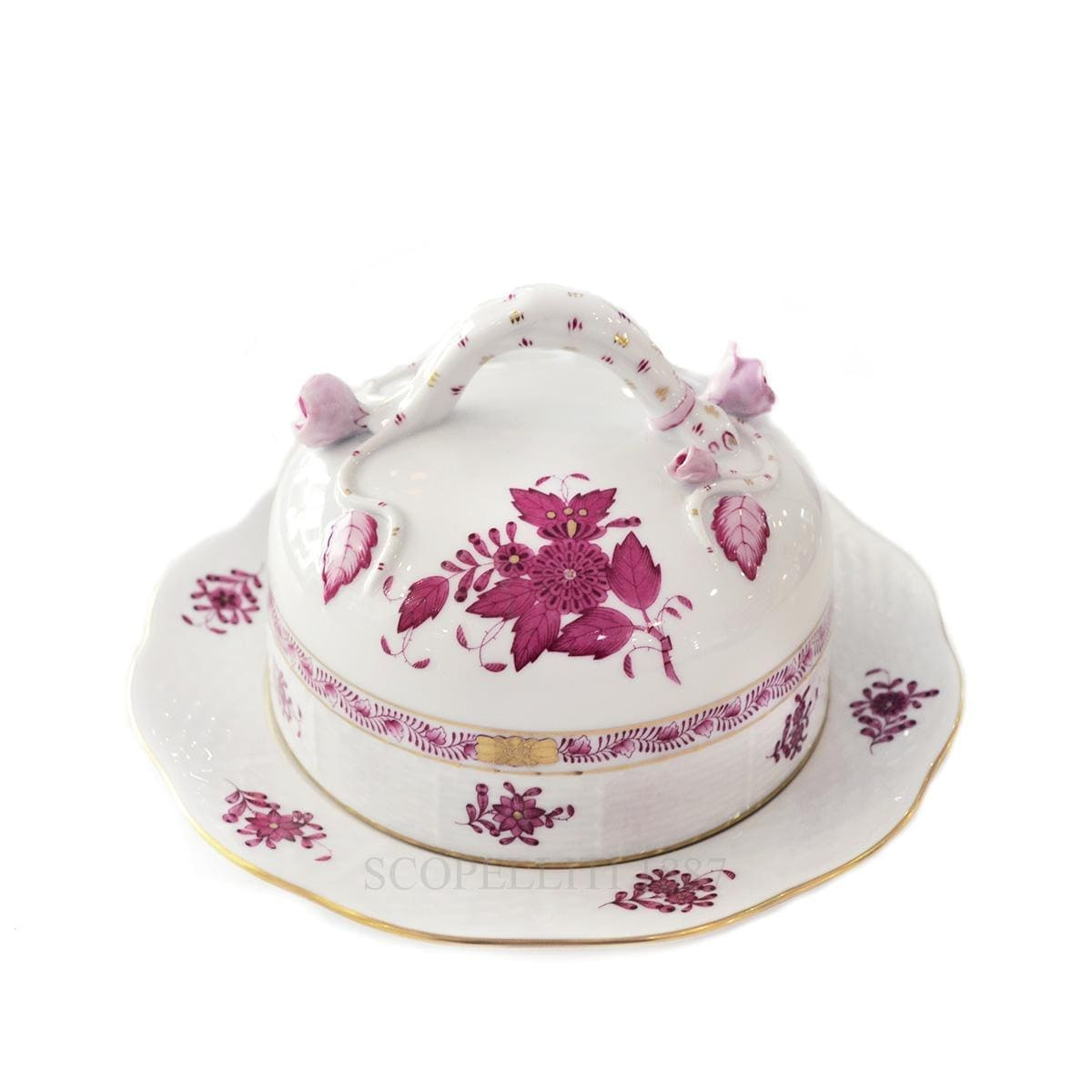 herend porcelain apponyi butter dish handpainted pink