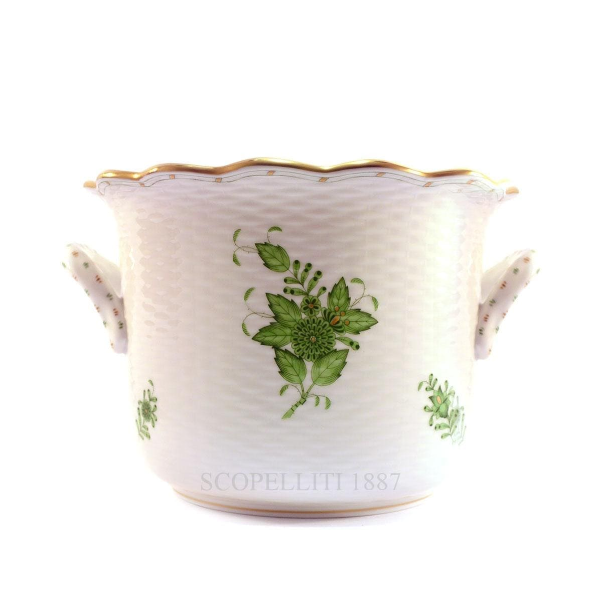 herend china porcelain handpainted apponyi cachepot green