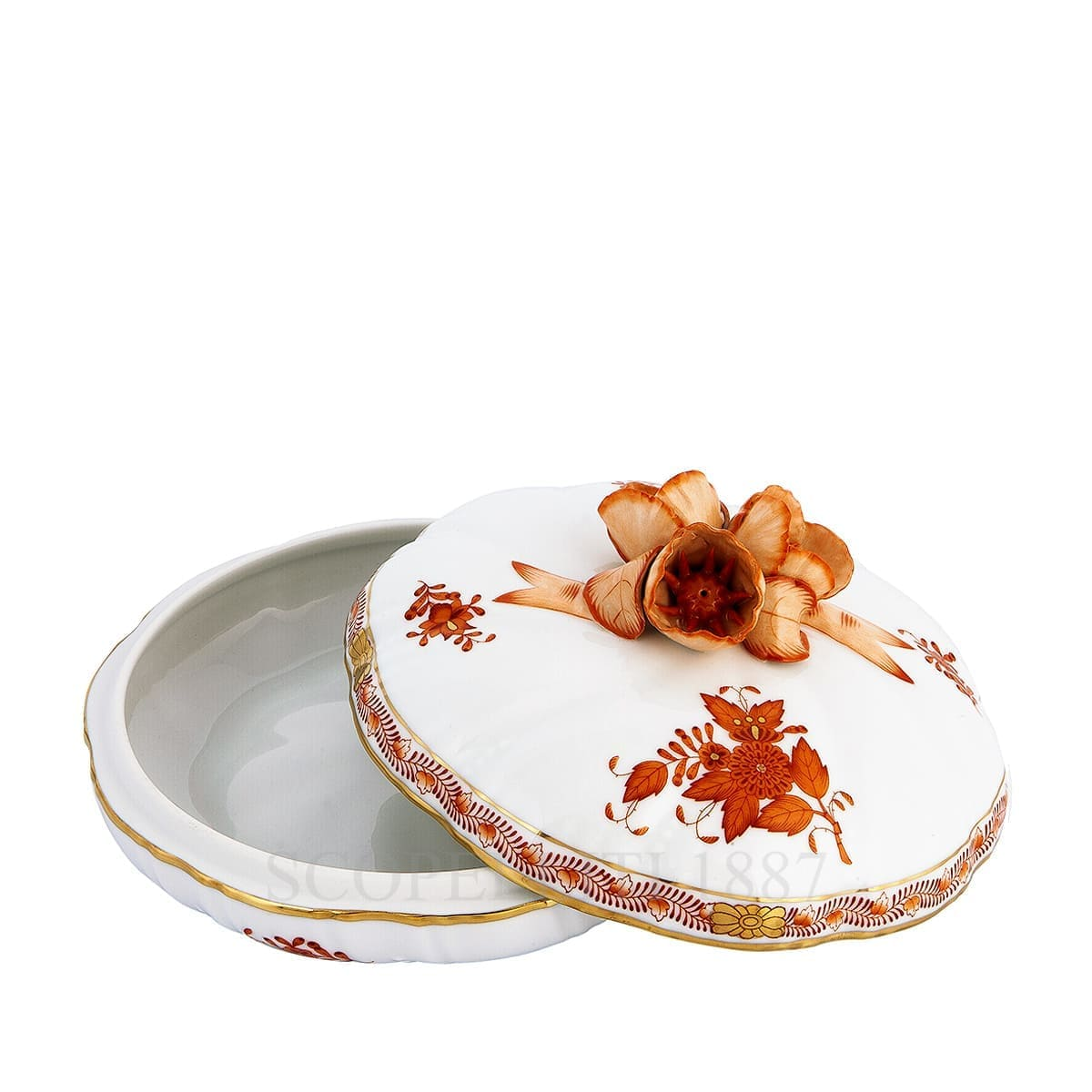 herend porcelain apponyi candy box orange with rose