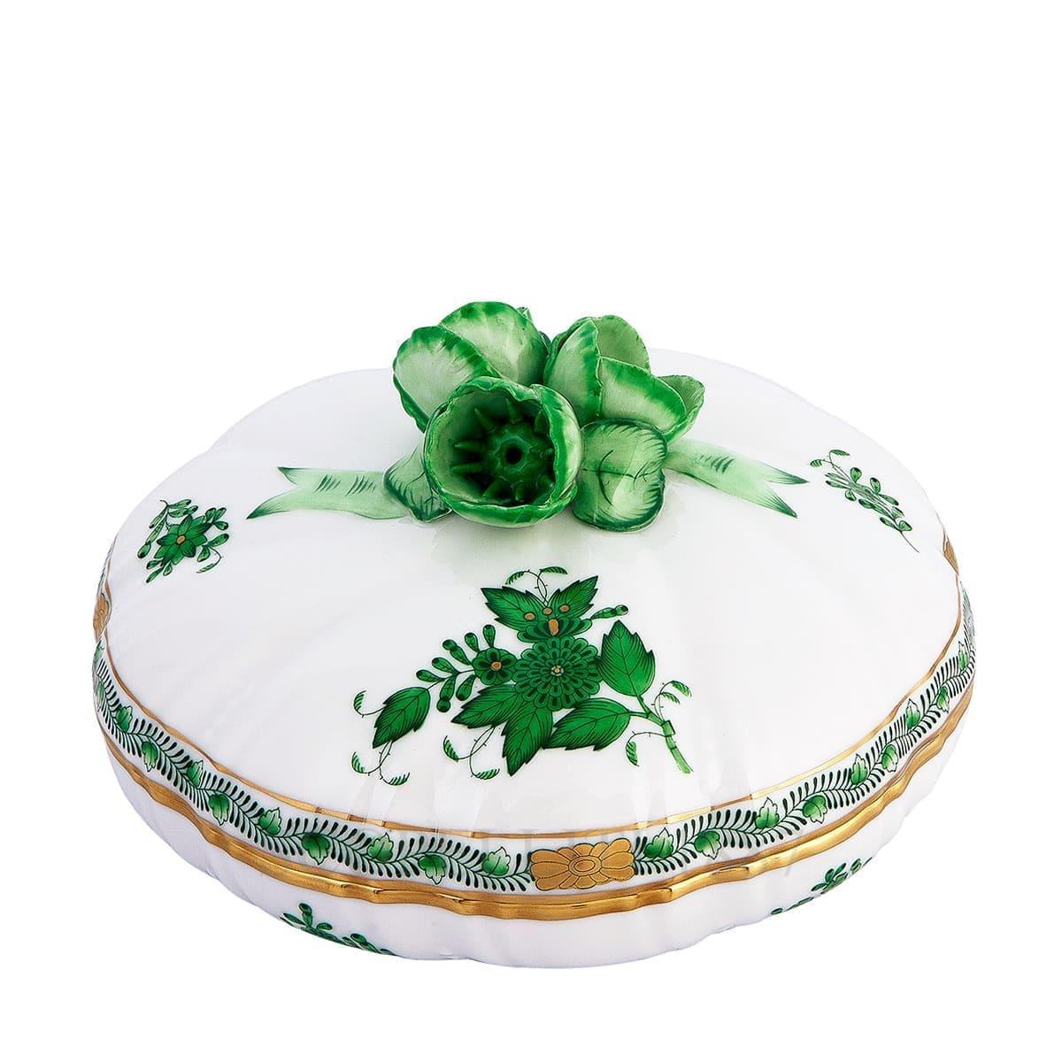herend porcelain apponyi candy box green with rose