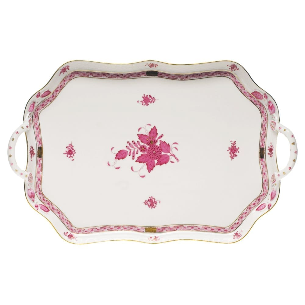 herend porcelain apponyi hendled tray pink