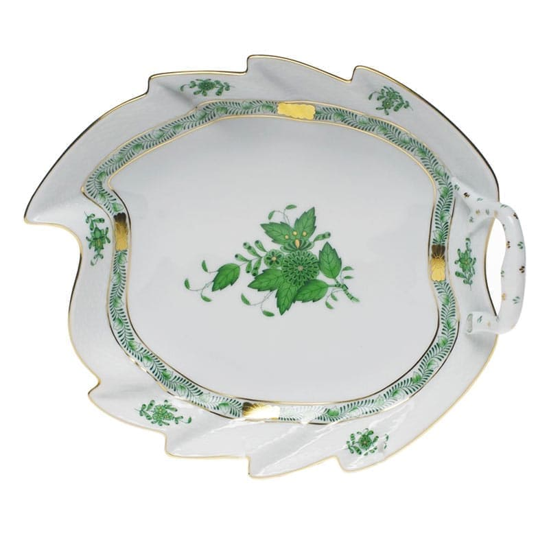 herend porcelain apponyi leaf dish green