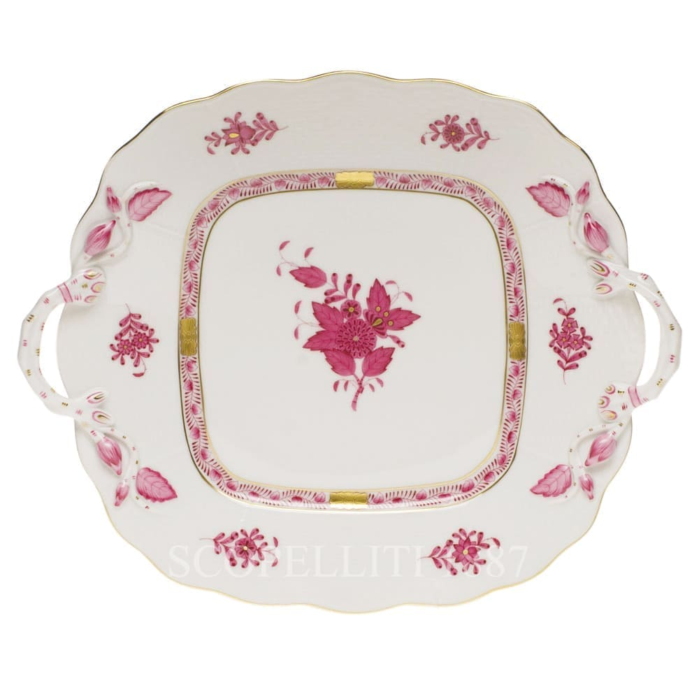 herend porcelain apponyi square cake plate pink