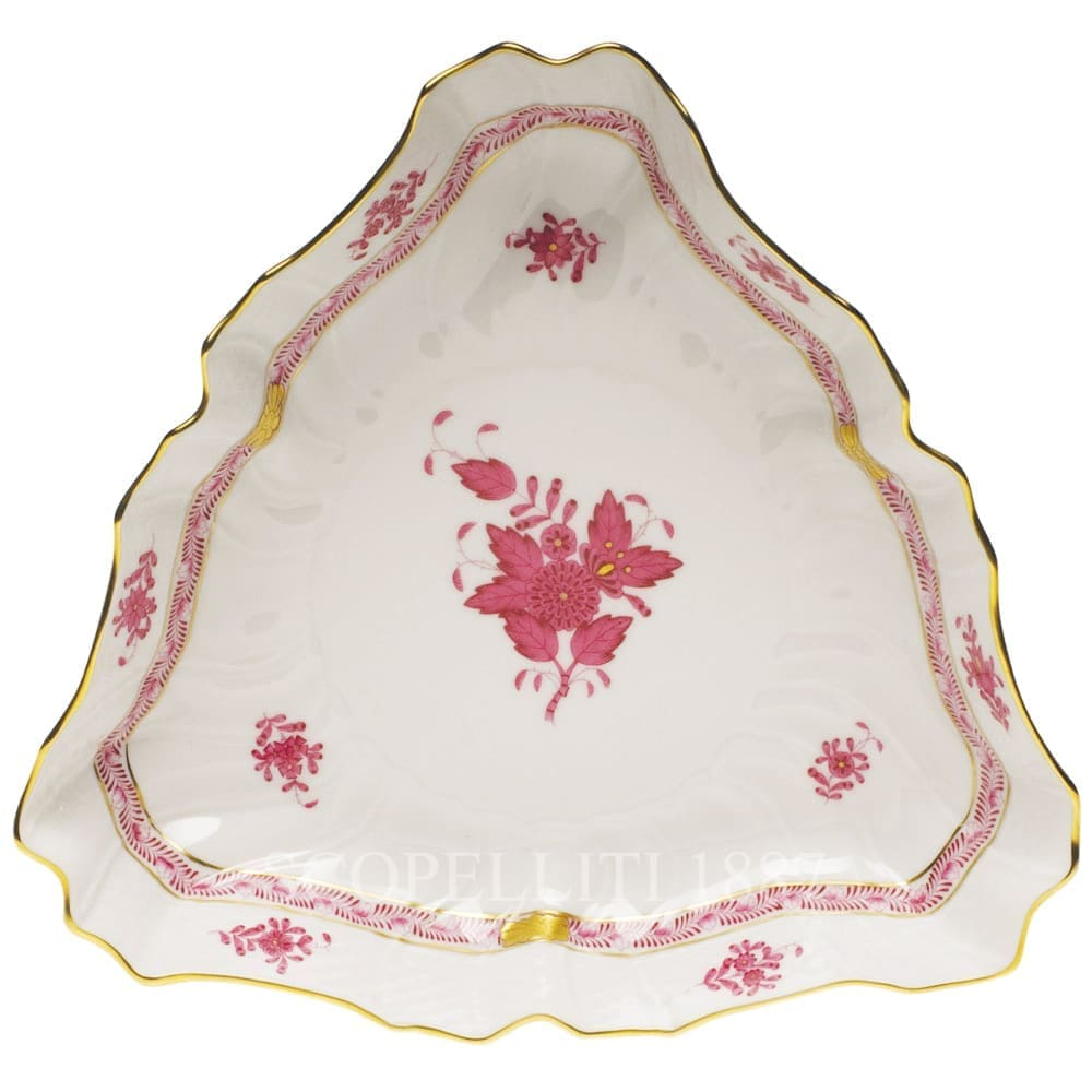 Herend Apponyi Triangle Dish 1191 AP Pink