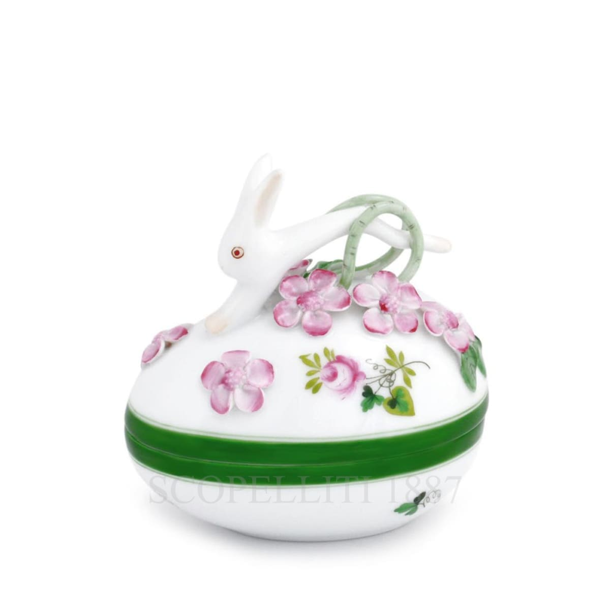 herend handpainted porcelain bonbonniere with bunny green