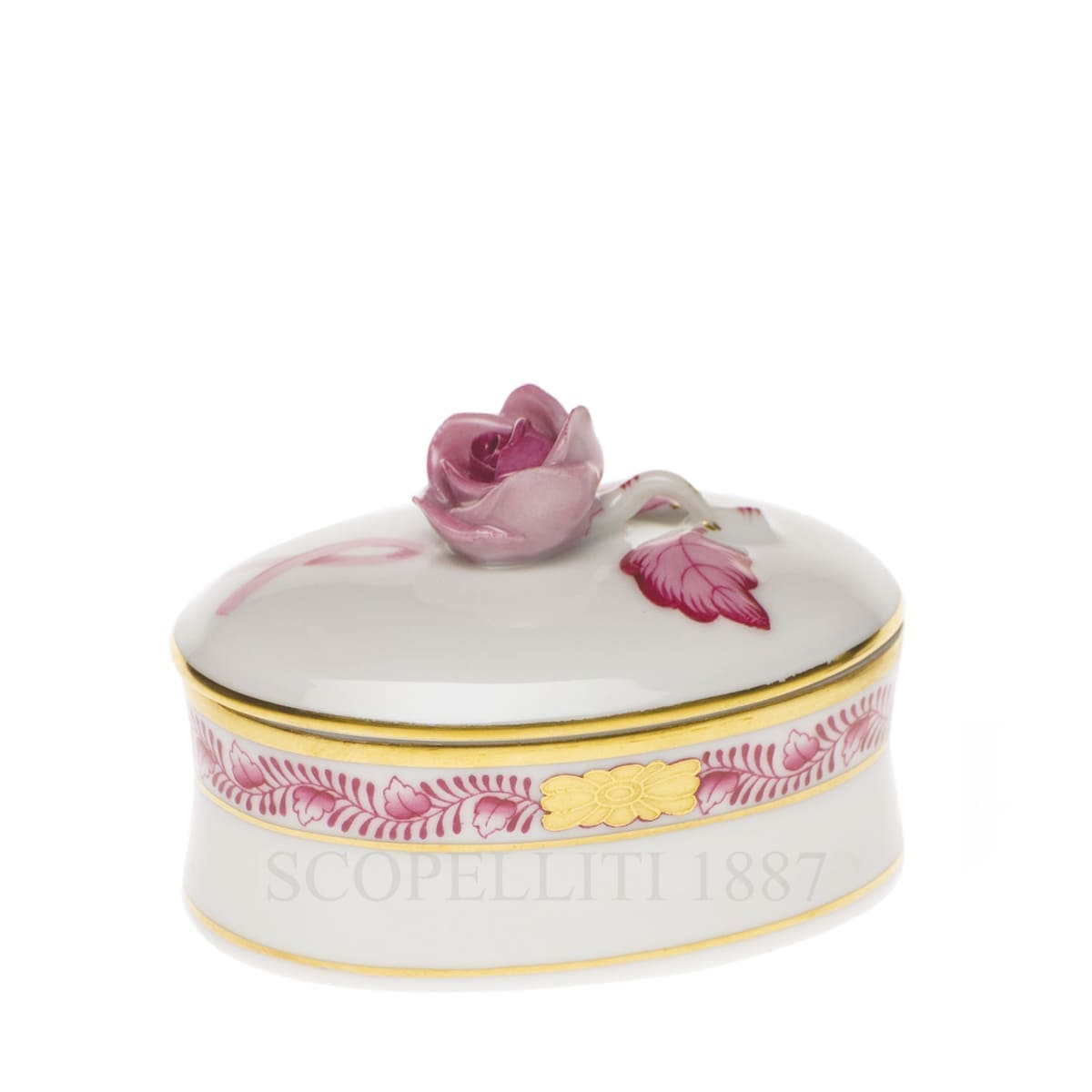herend handpainted porcelain bonbonniere with rose pink