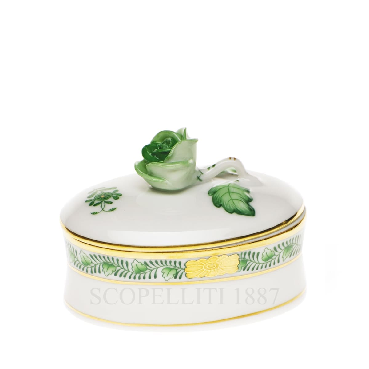 herend handpainted porcelain bonbonniere with rose green
