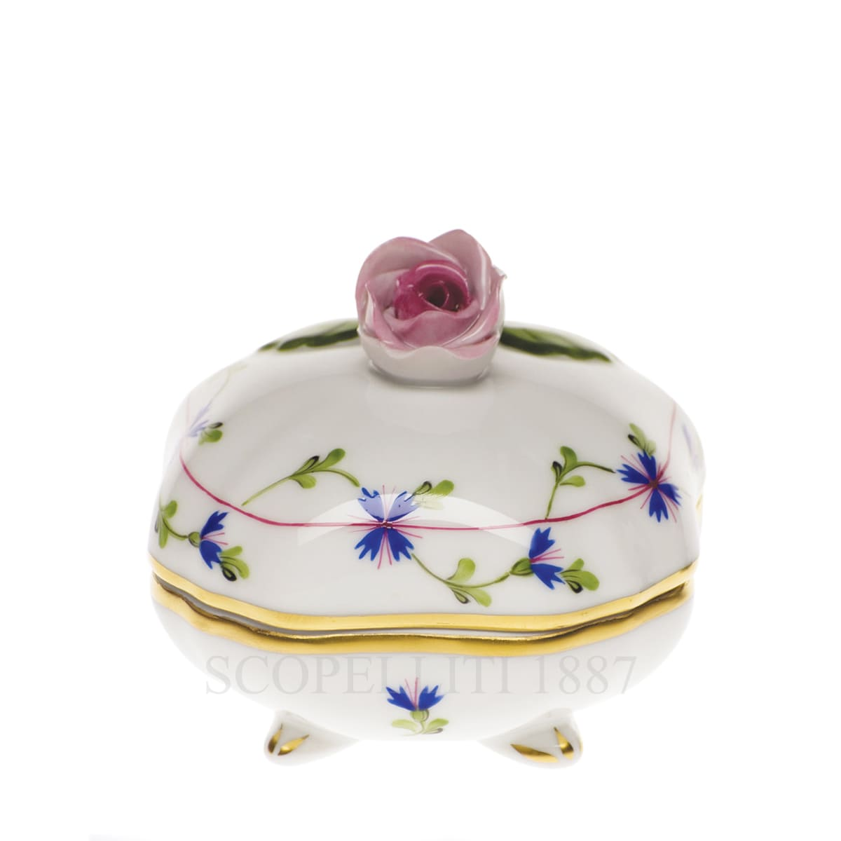 herend handpainted porcelain bonbonniere with rose