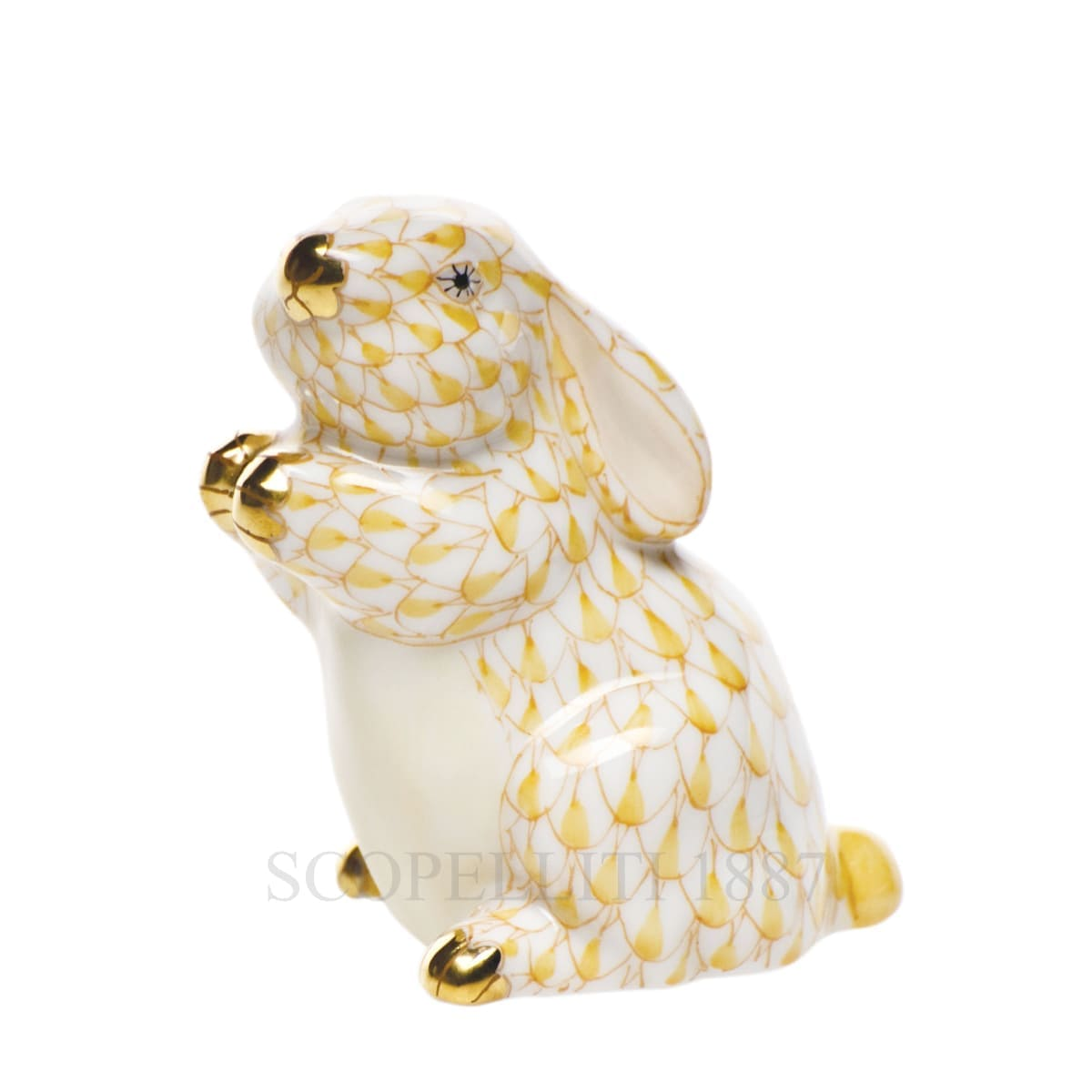 herend porcelain bunny figurine golden