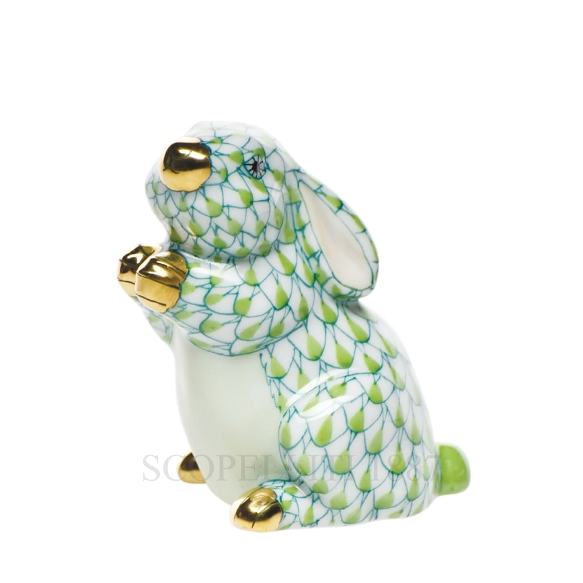 herend porcelain bunny figurine light green