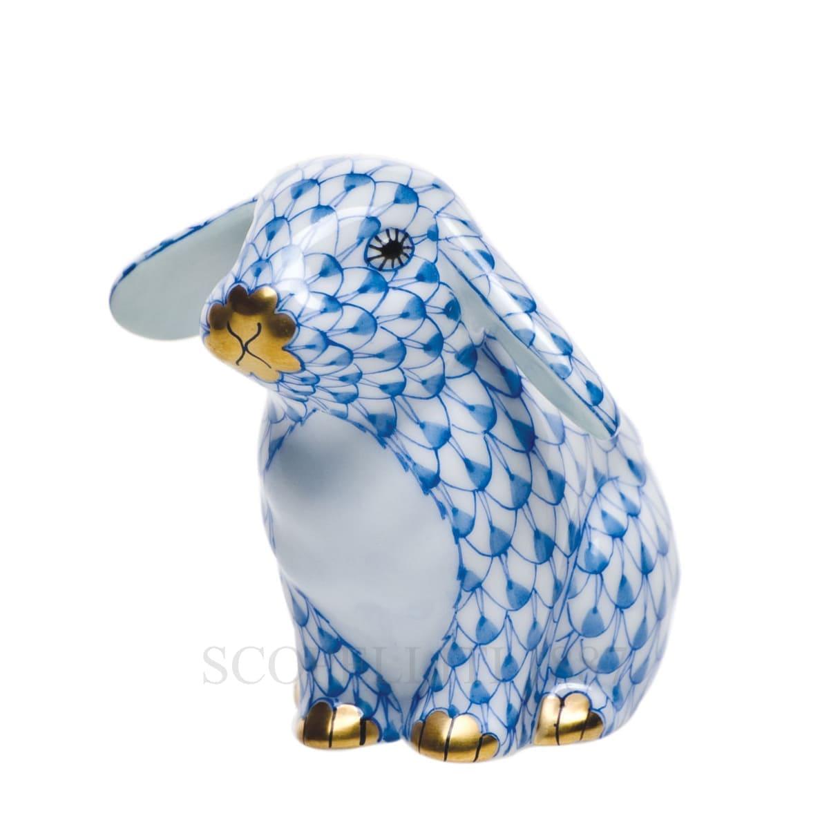 herend porcelain bunny figurine blue