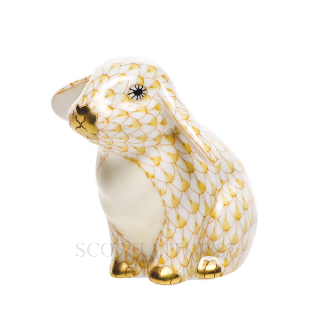 herend porcelain bunny figurine golden