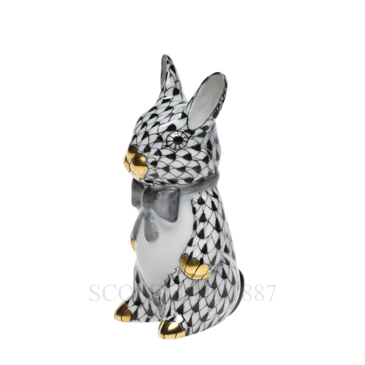 herend porcelain bunny figurine black and white