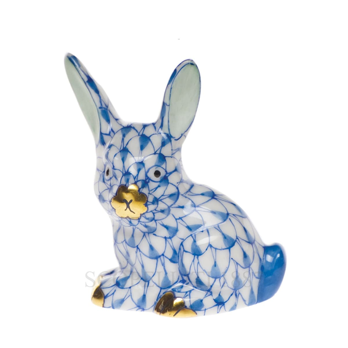 herend porcelain bunny figurine blue