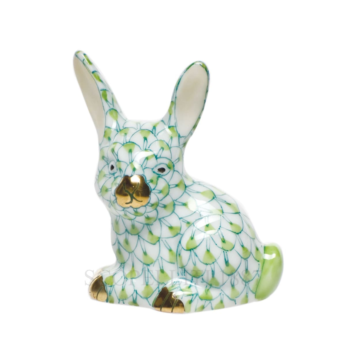 herend porcelain bunny figurine green