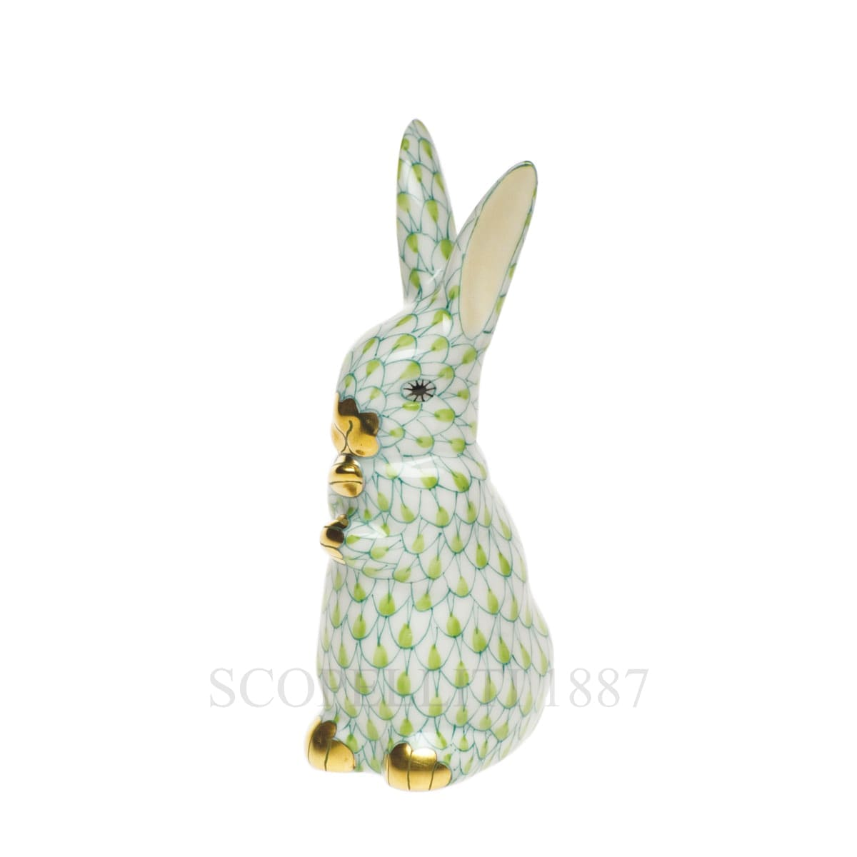 herend porcelain bunny figurine light green