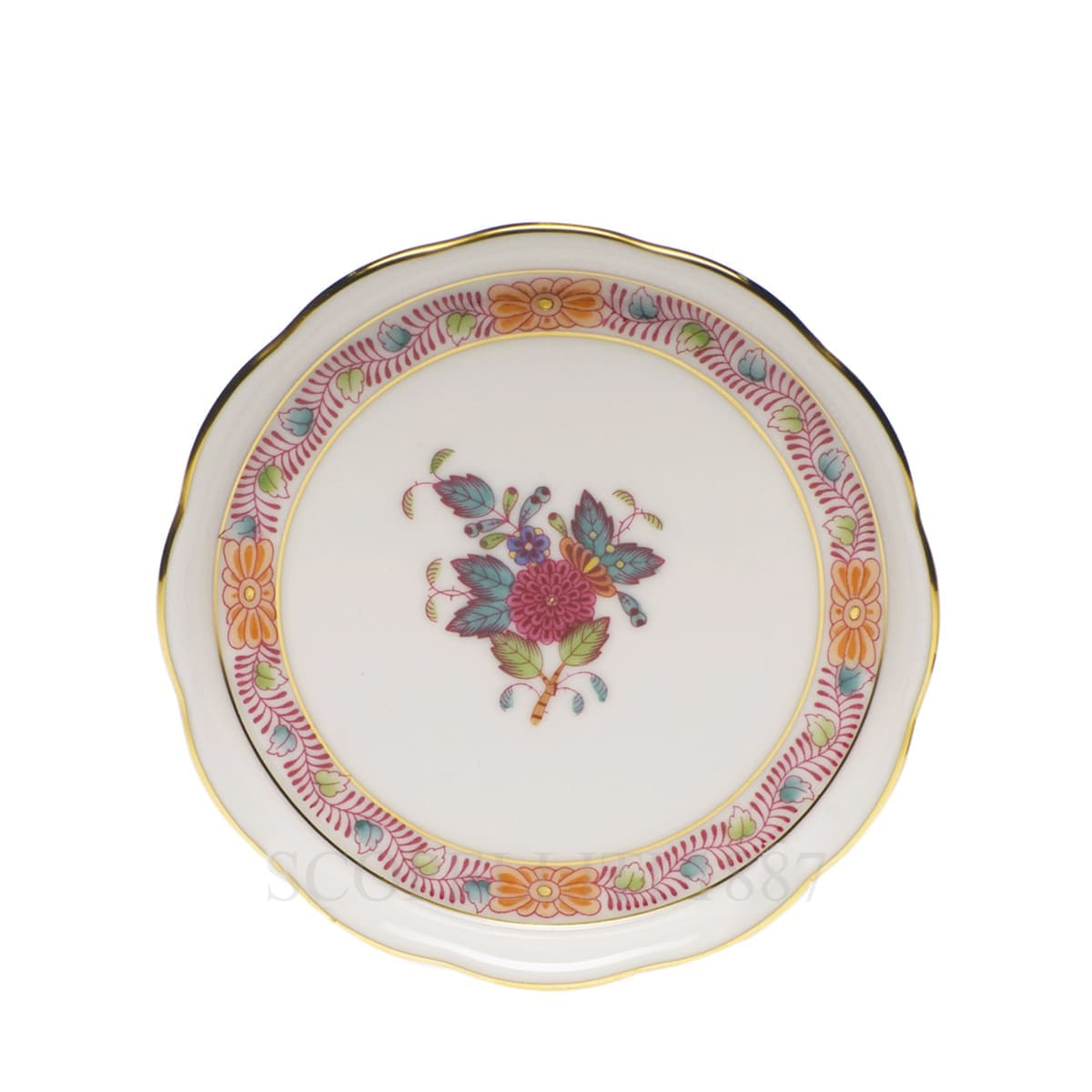 herend handpainted porcelain coaster multicolor