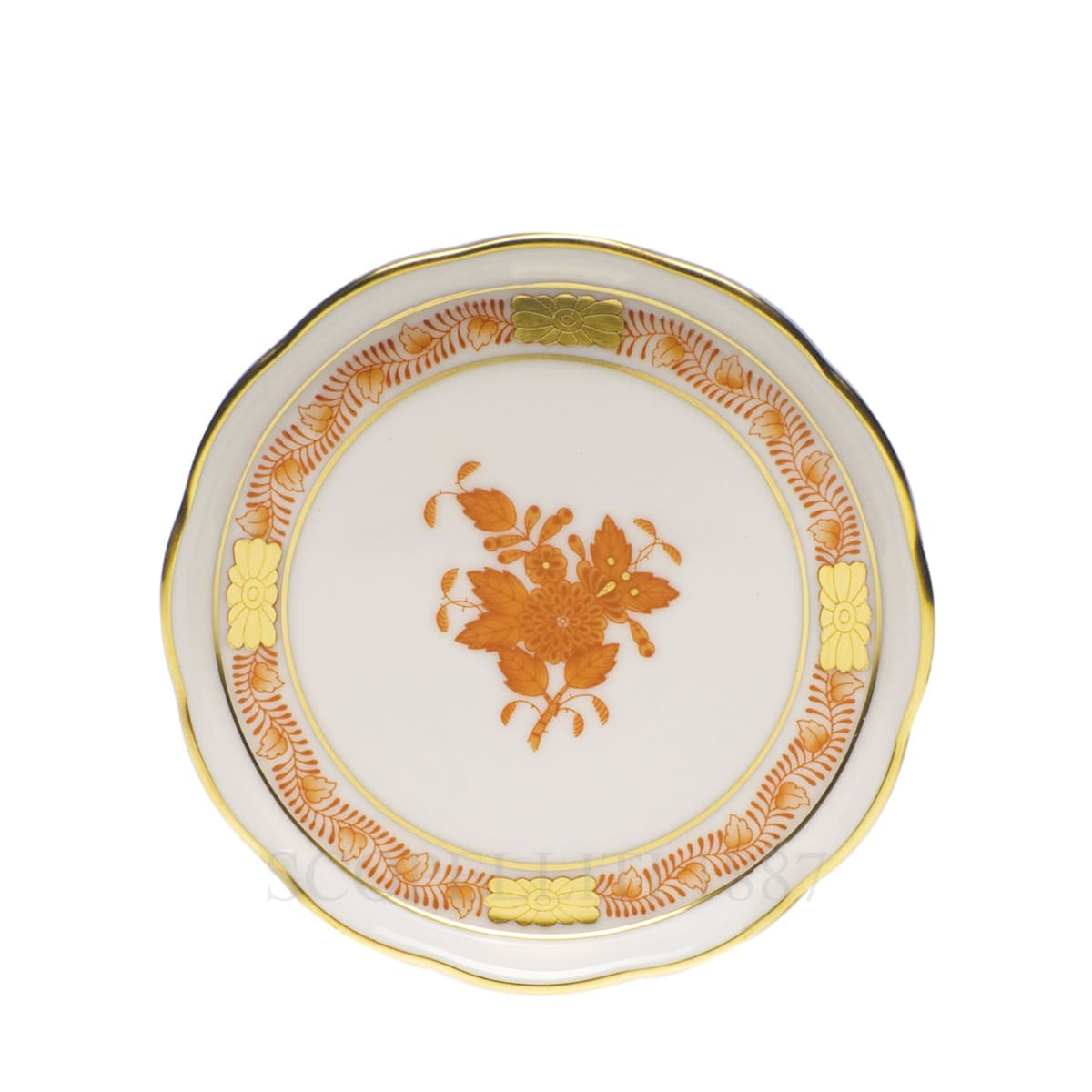 herend handpainted porcelain coaster orange