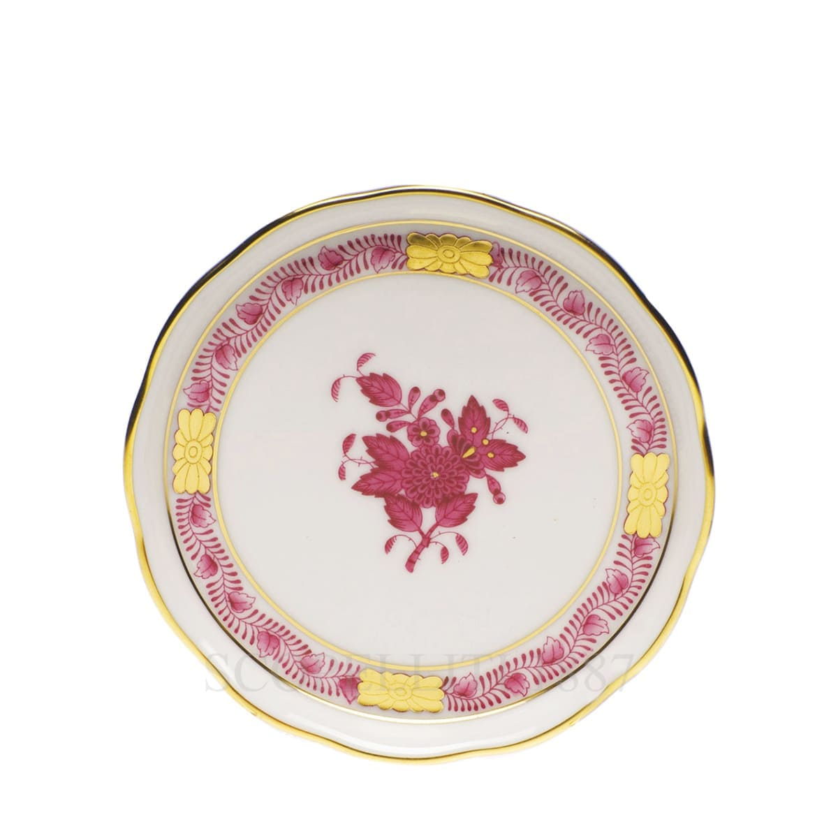 herend handpainted porcelain coaster pink