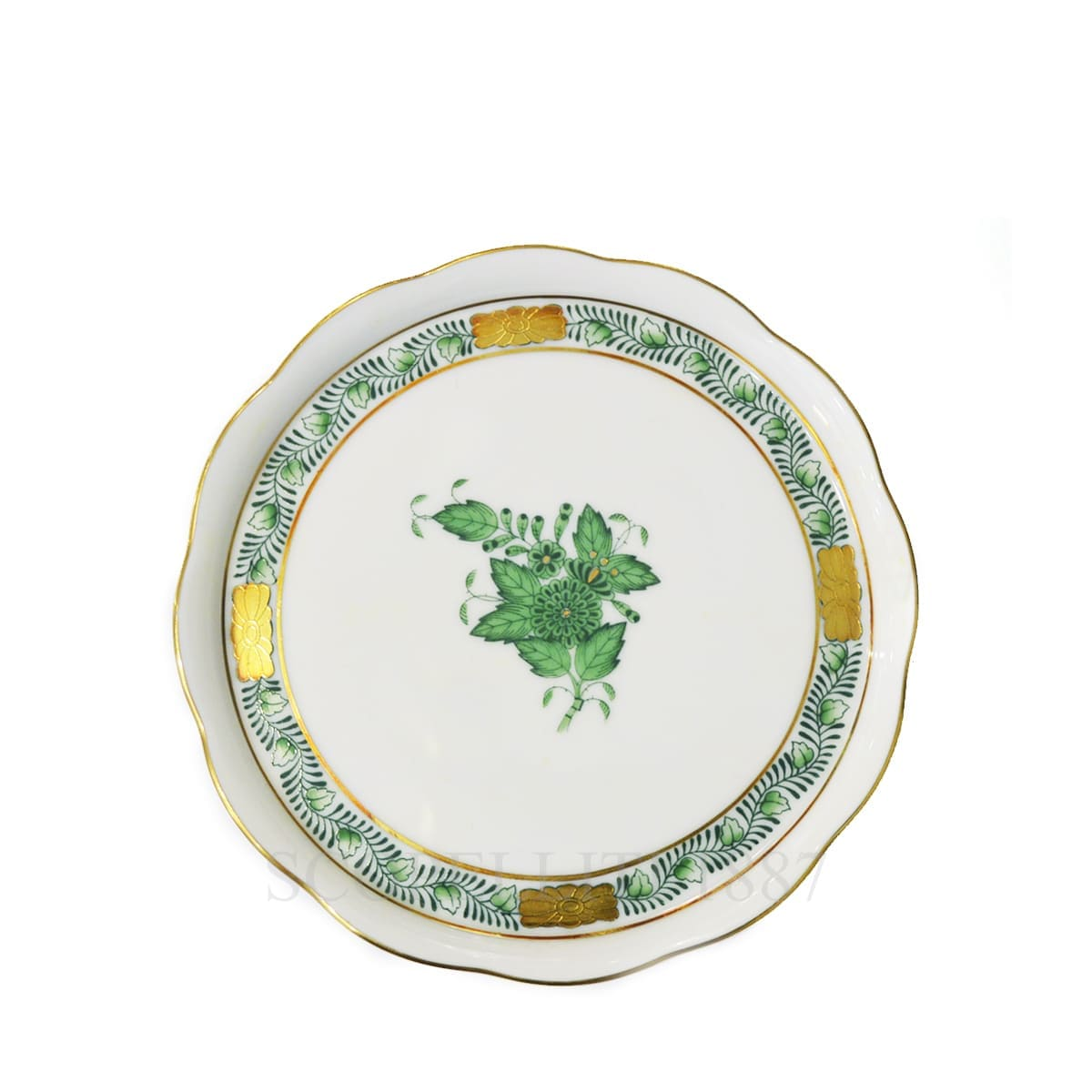 herend handpainted porcelain coaster green