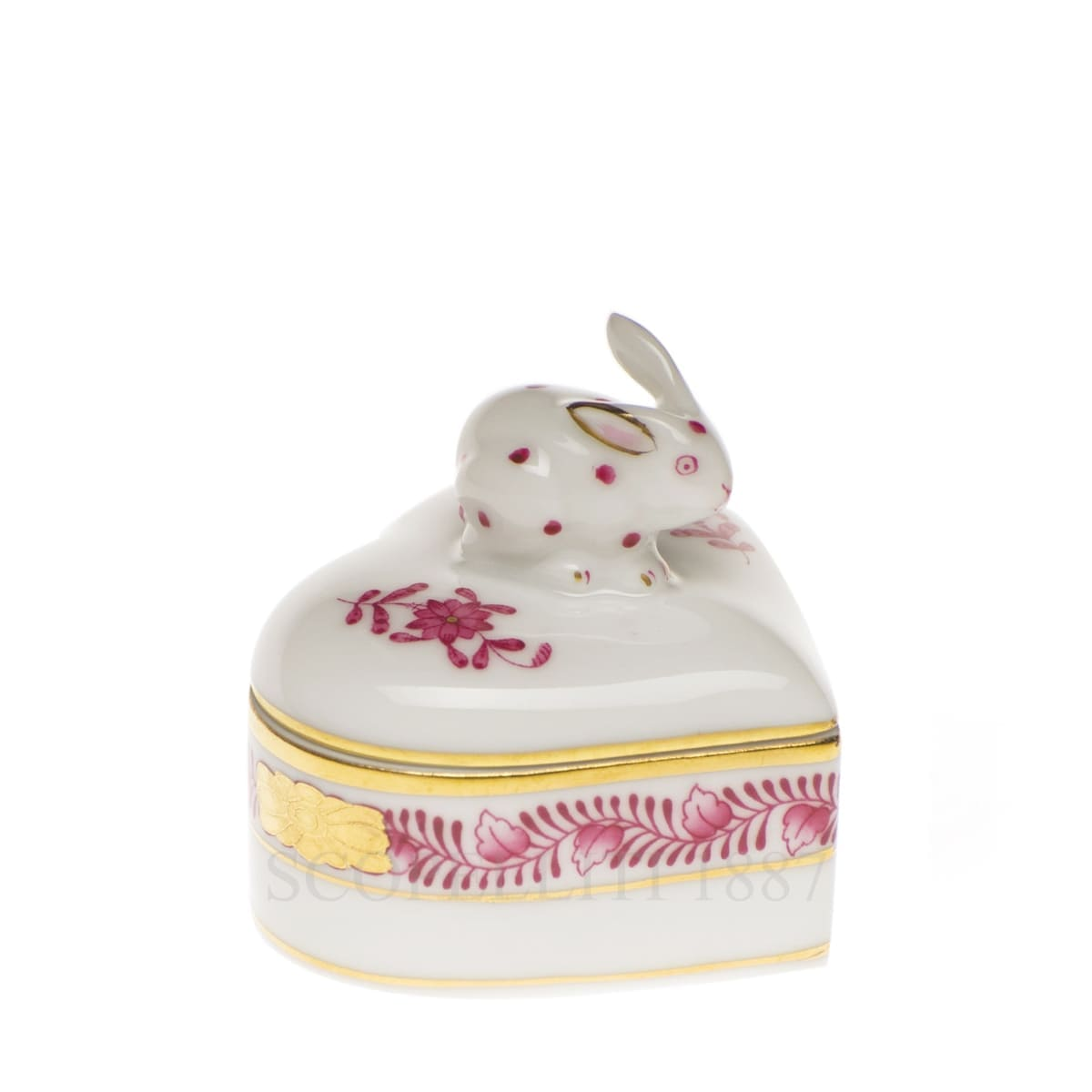 herend handpainted porcelain heart box with bunny pink