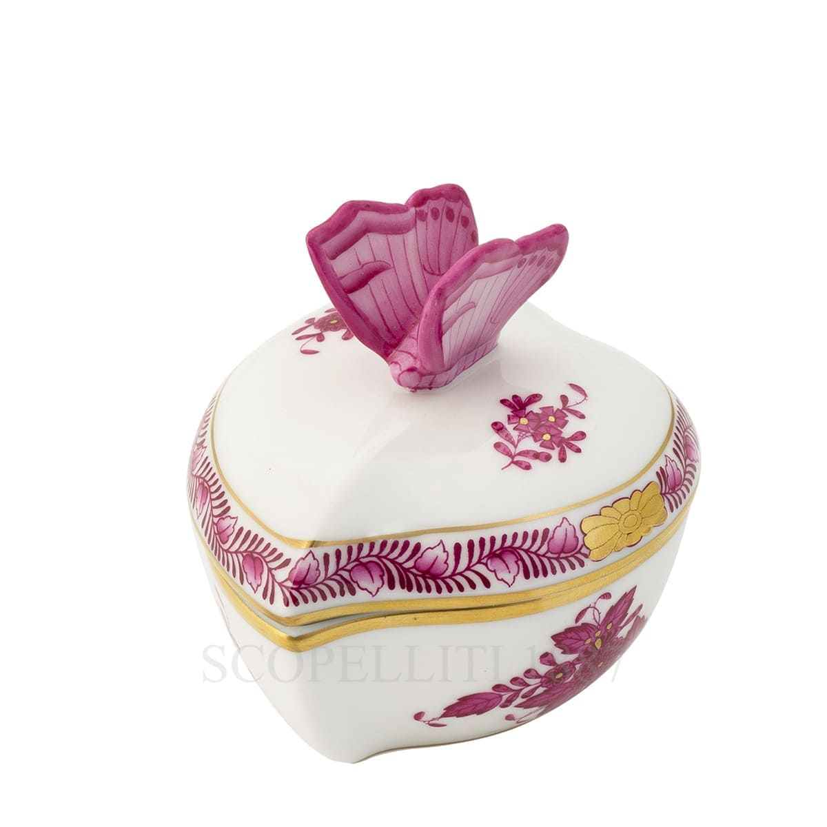herend handpainted porcelain heart box with butterfly pink