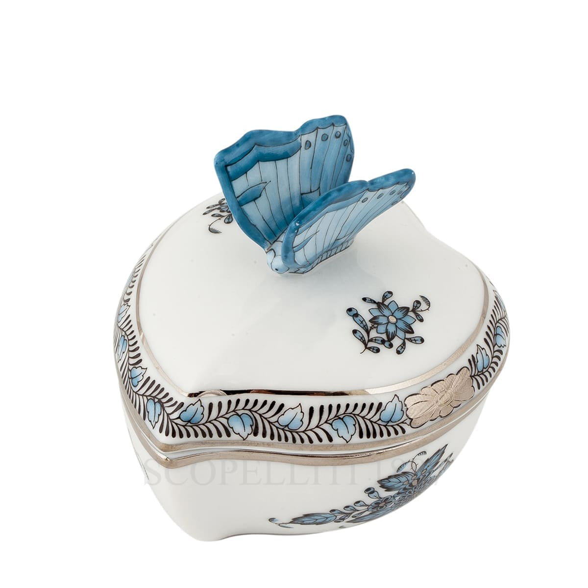 herend handpainted porcelain heart box with butterfly