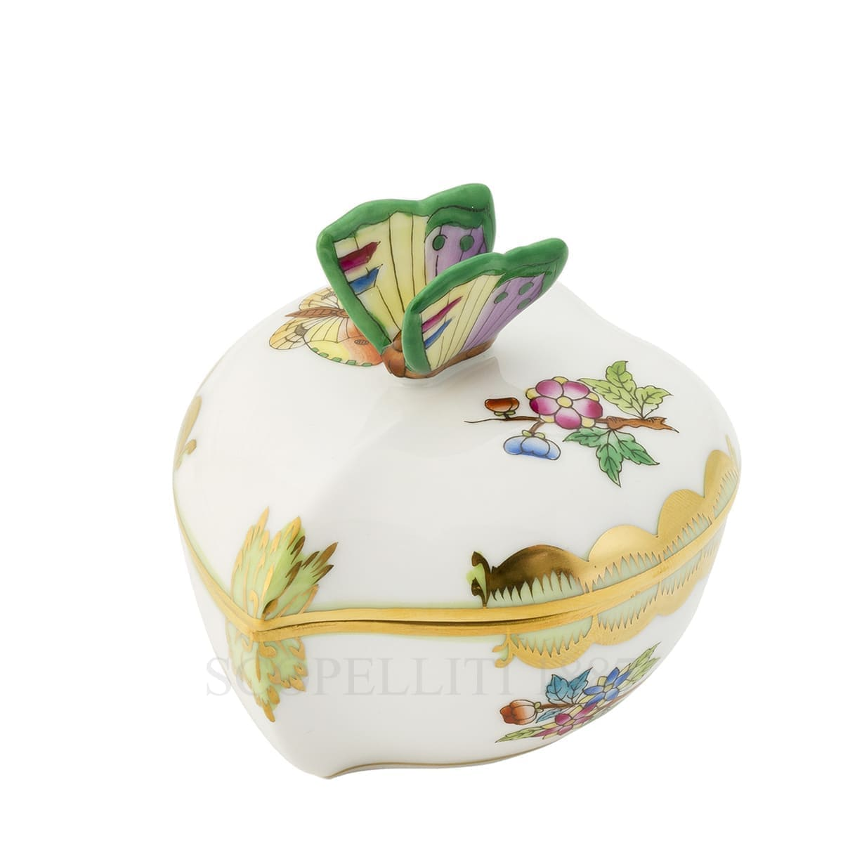 Herend Queen Victoria Heart Box with Butterfly 6005-17 VBA