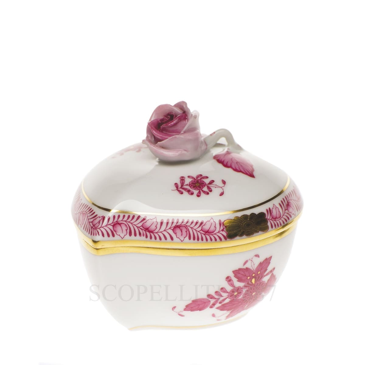 herend handpainted porcelain heart box with rose pink