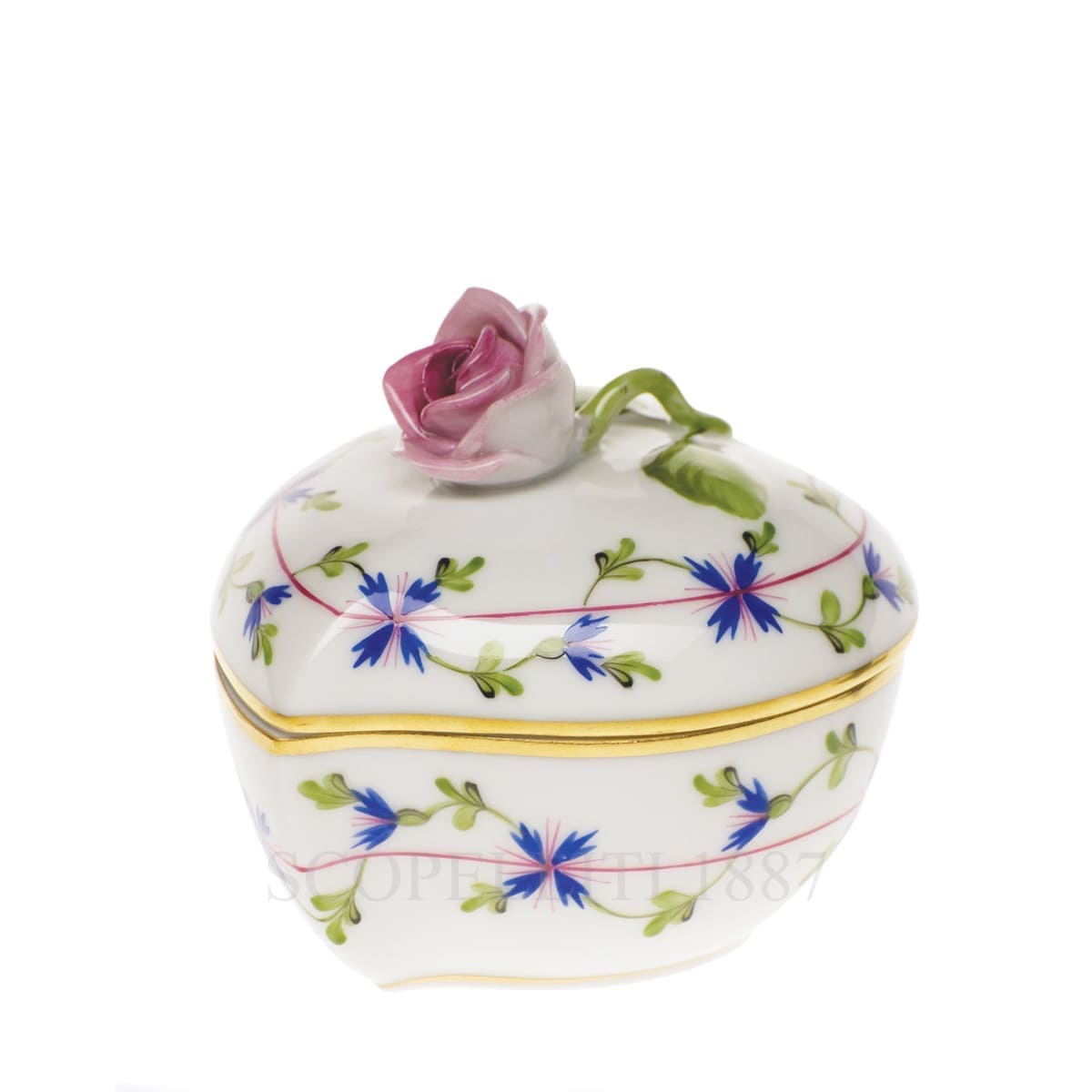 herend handpainted porcelain heart box with rose