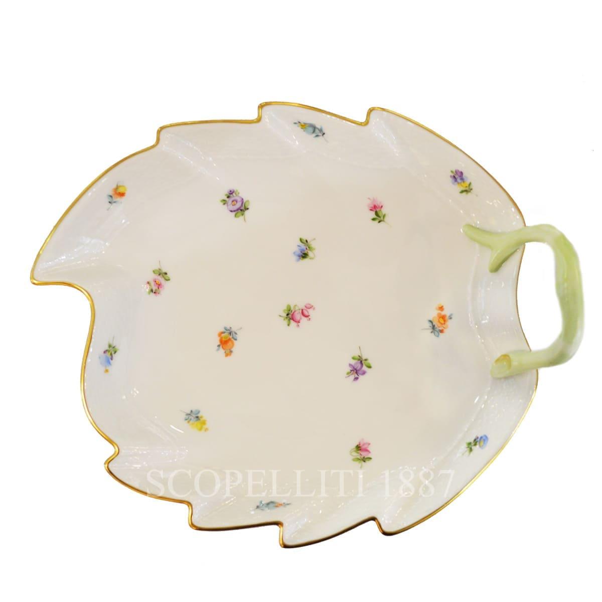 herend handpainted porcelain milles fleurs leaf dish