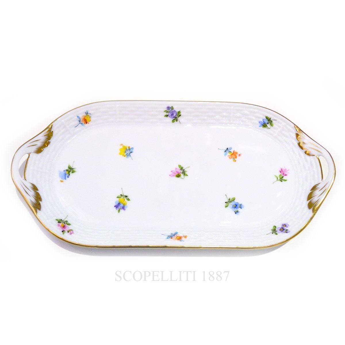 herend handpainted porcelain milles fleurs sandwich dish
