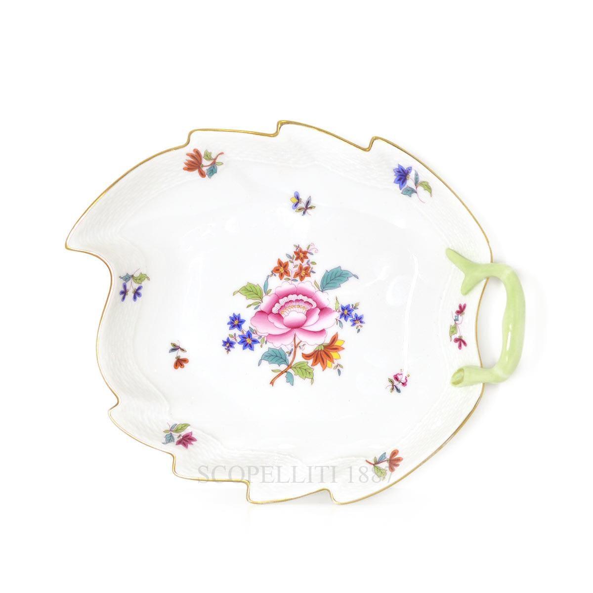 herend porcelain nanjing bouquet leaf dish