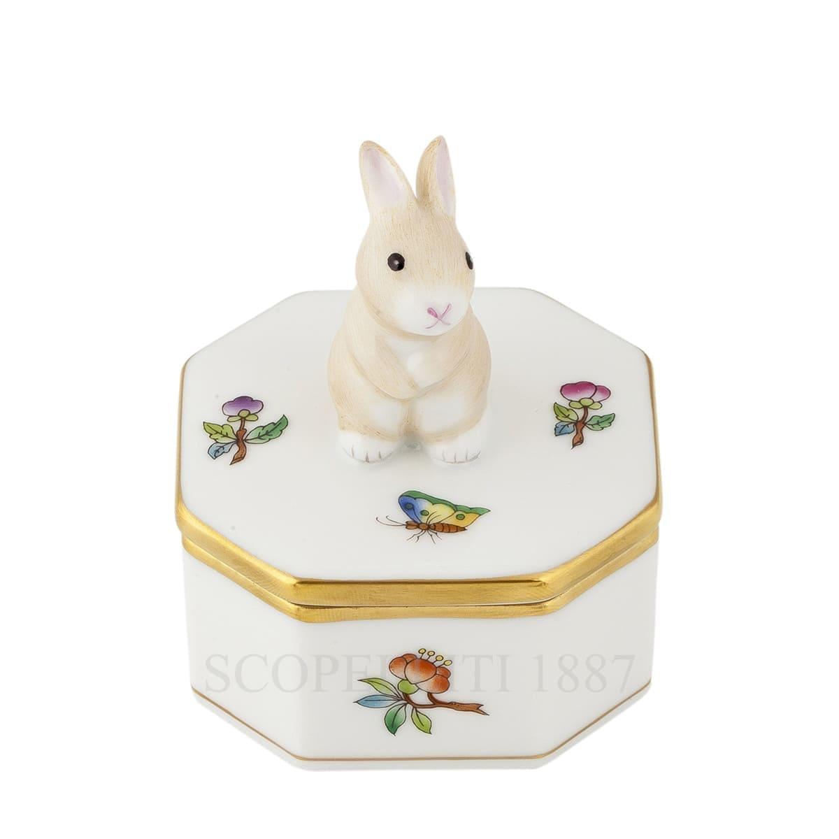 herend handpainted porcelain octagonal box with bunny queen victoria