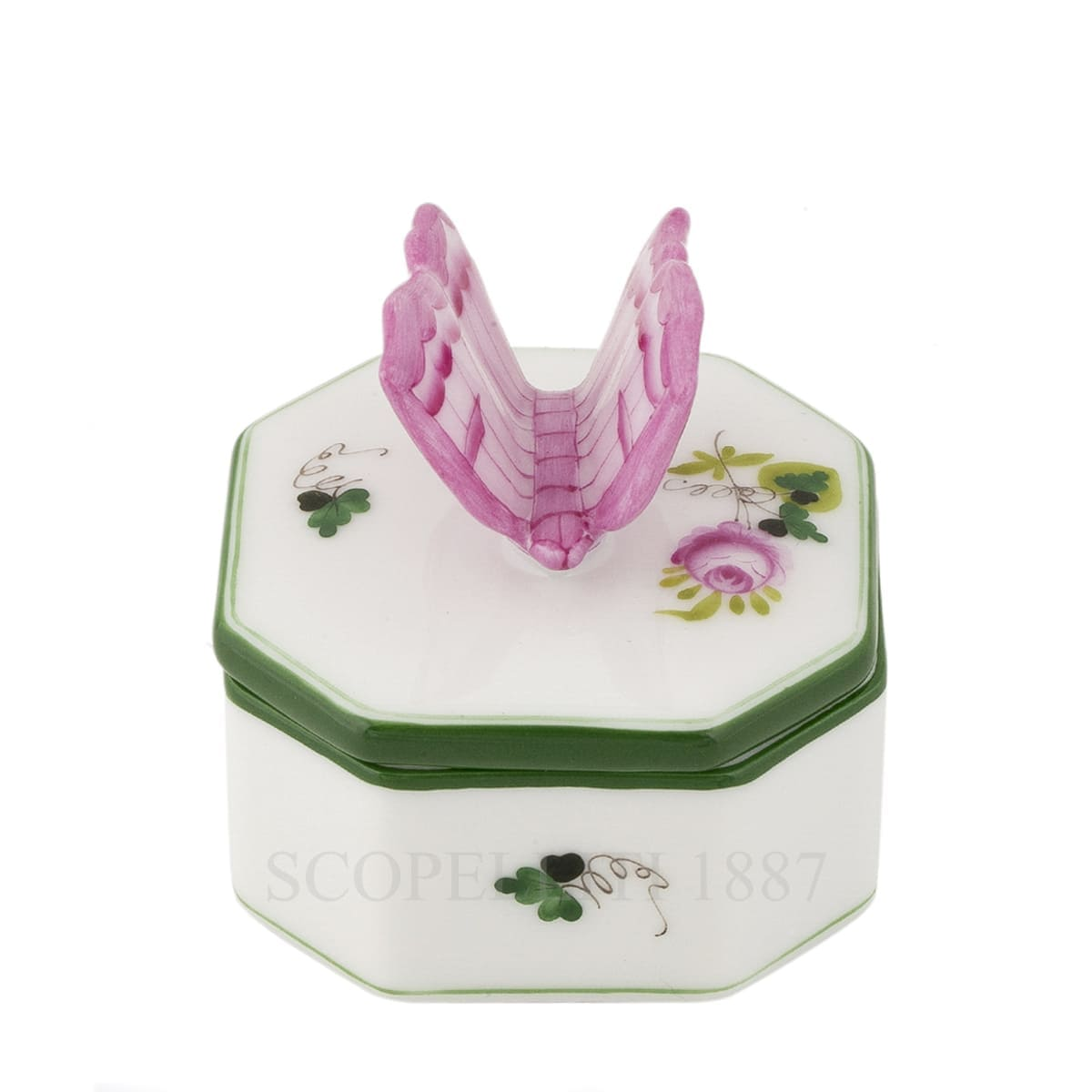 herend handpainted porcelain octagonal box with butterfly