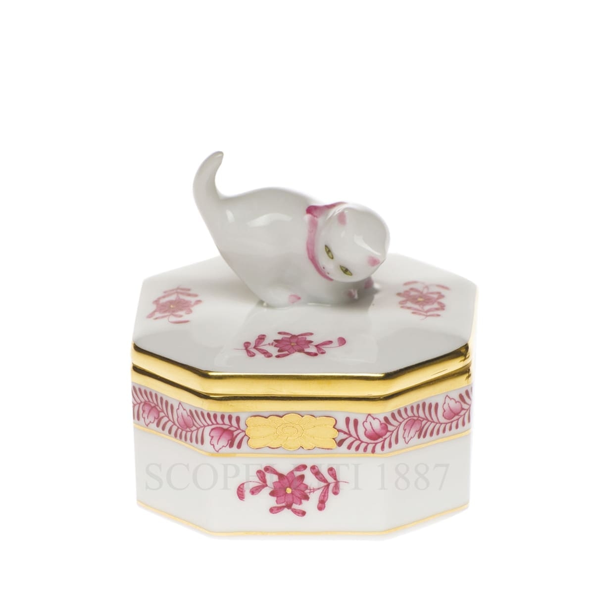 Herend Apponyi Octagonal Cat Box 6104-26 Pink AP