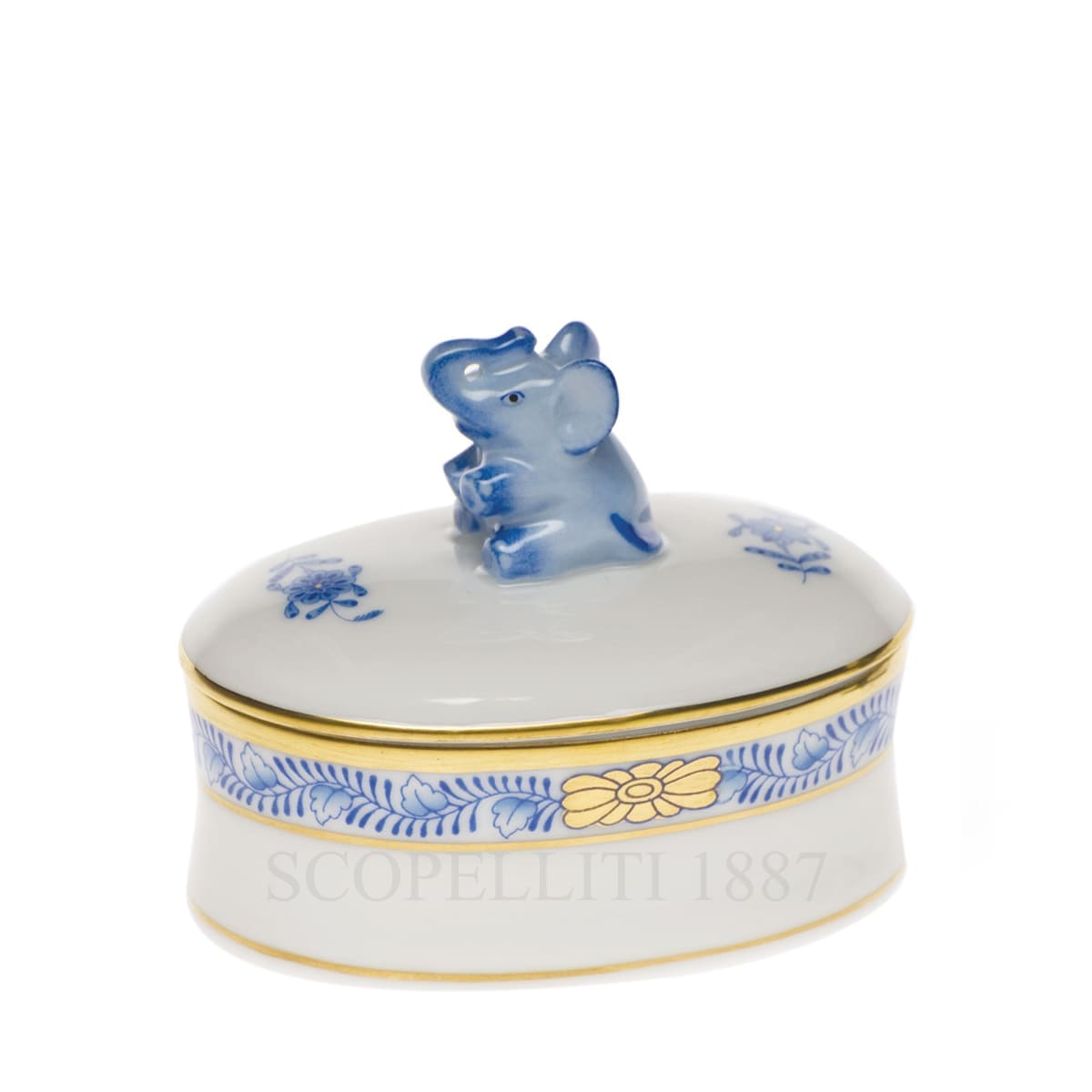 Herend Apponyi Oval Box with Elephant 6114-95 AB