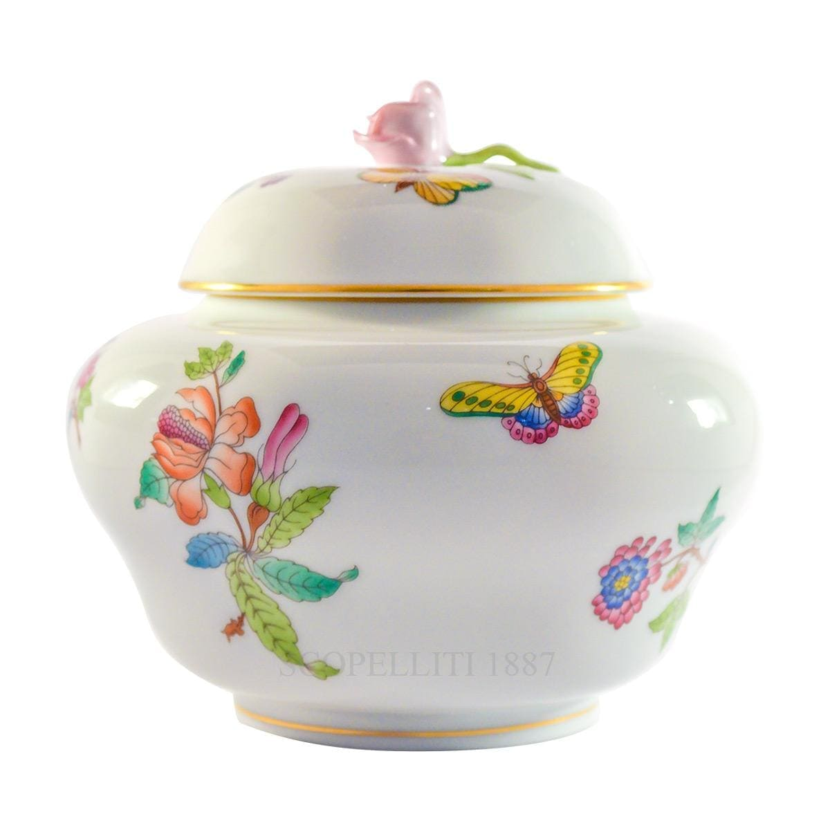 herend porcelain queen victoria ginger jar with rose