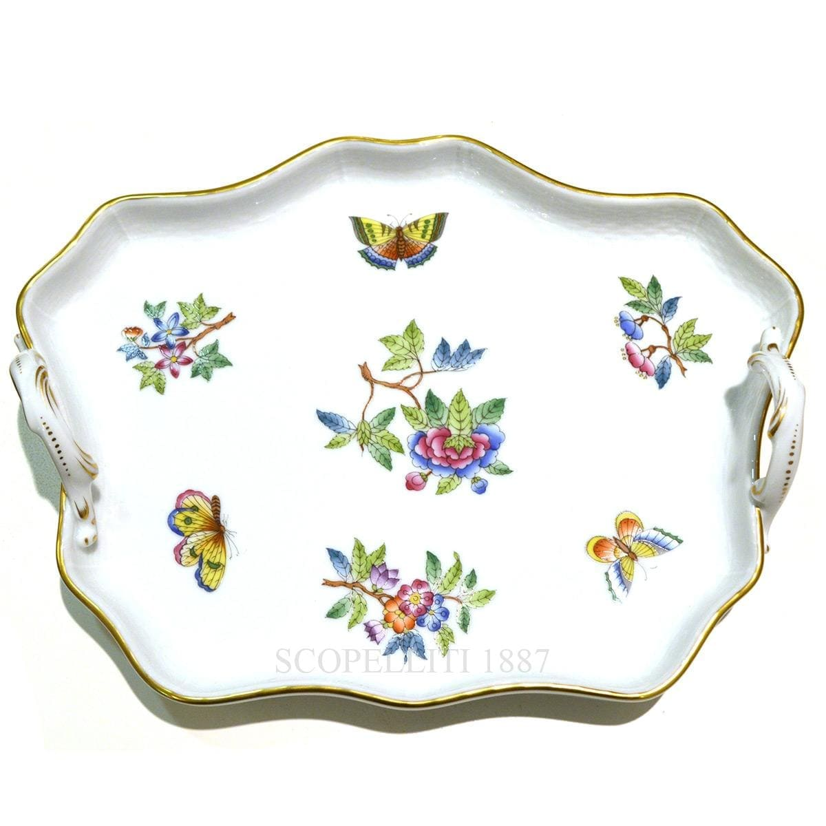 herend porcelain queen victoria handled tray