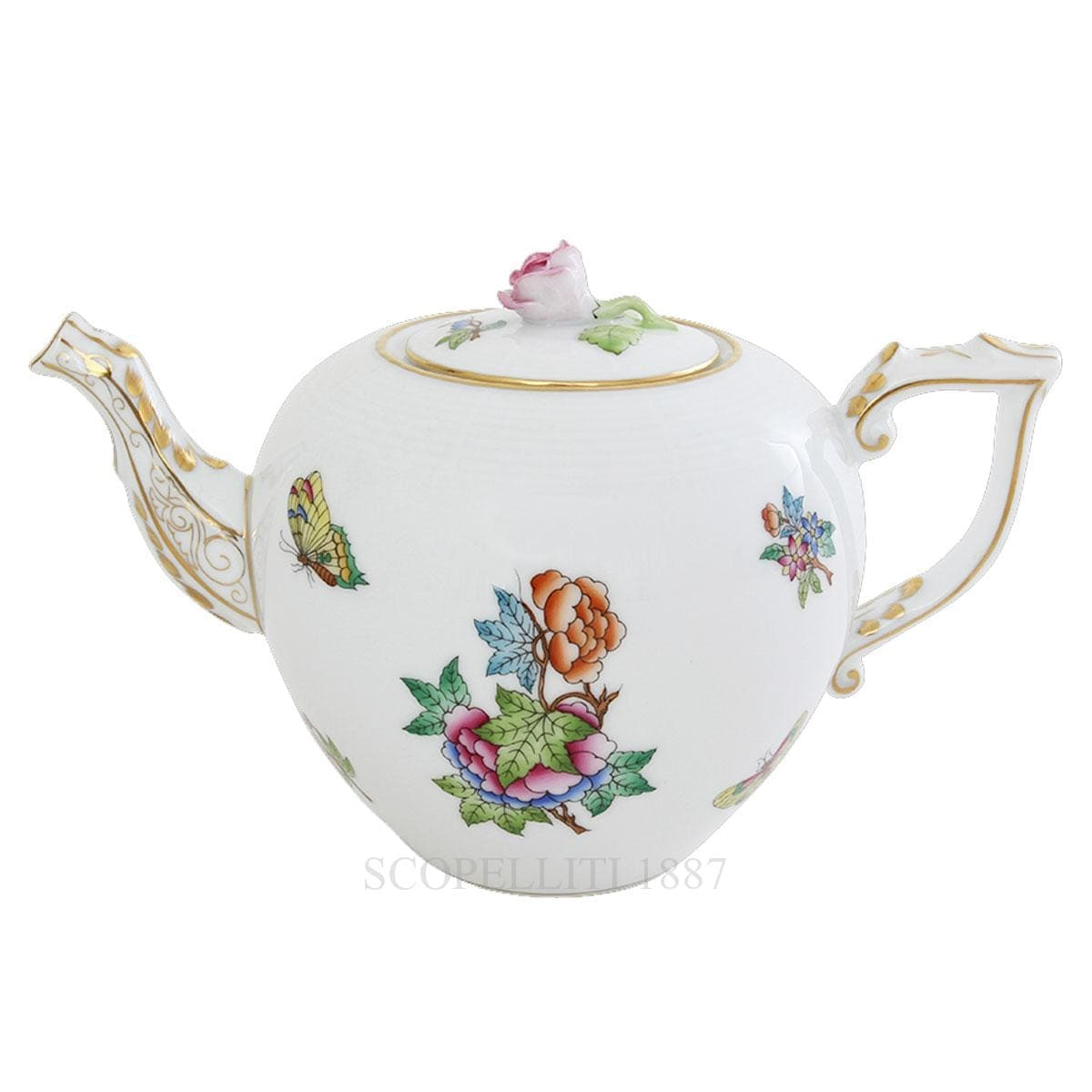 herend porcelain queen victoria teapot with rose