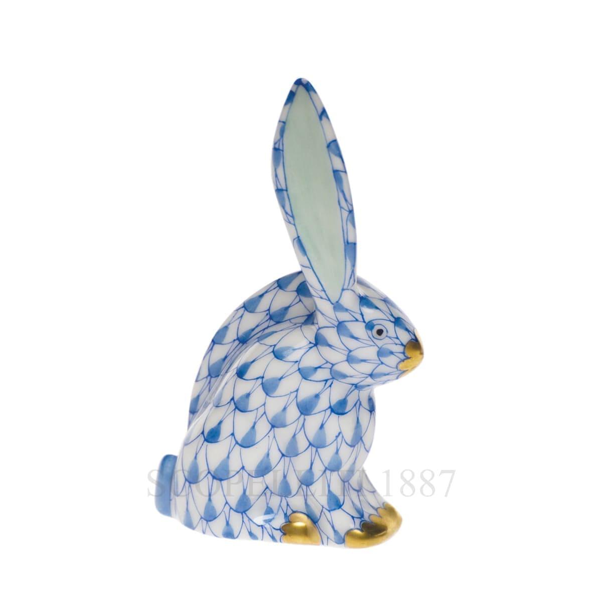 herend porcelain rabbit figurine blue