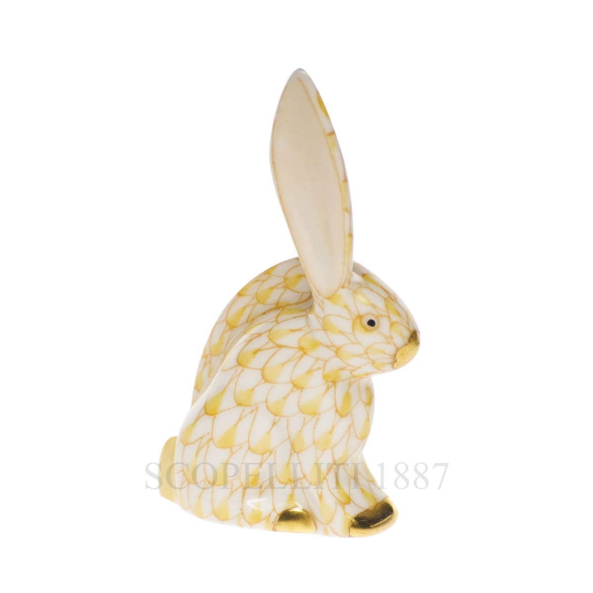 herend porcelain rabbit figurine golden