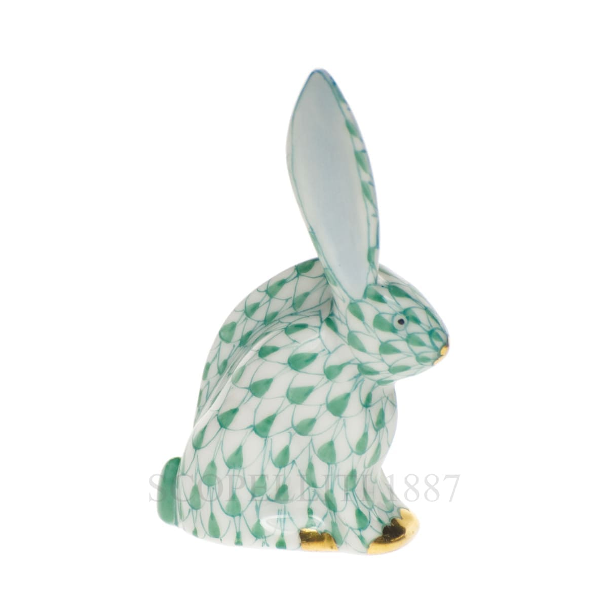 herend porcelain rabbit figurine green