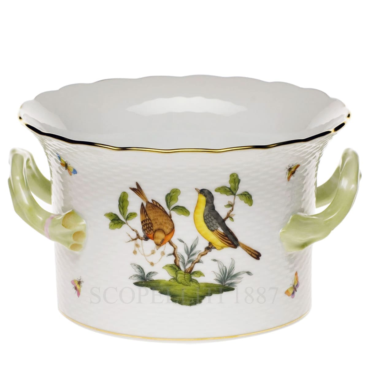 herend porcelain rothschild cachepot with handles